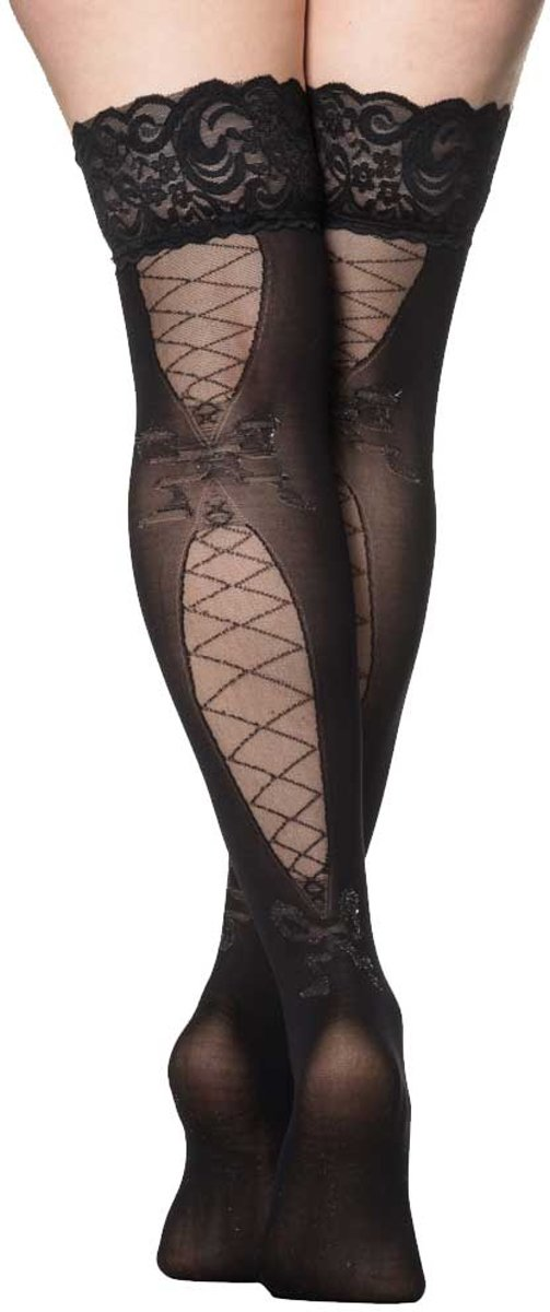 Foto van Freya kousen met korset veter print detail zwart - One size - Banned