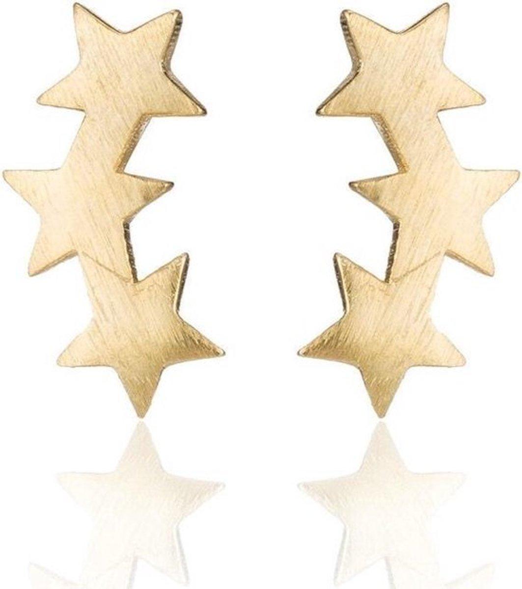 Joboly 3 sterren ster star oorbellen geborsteld  - Dames - Goudkleurig kopen