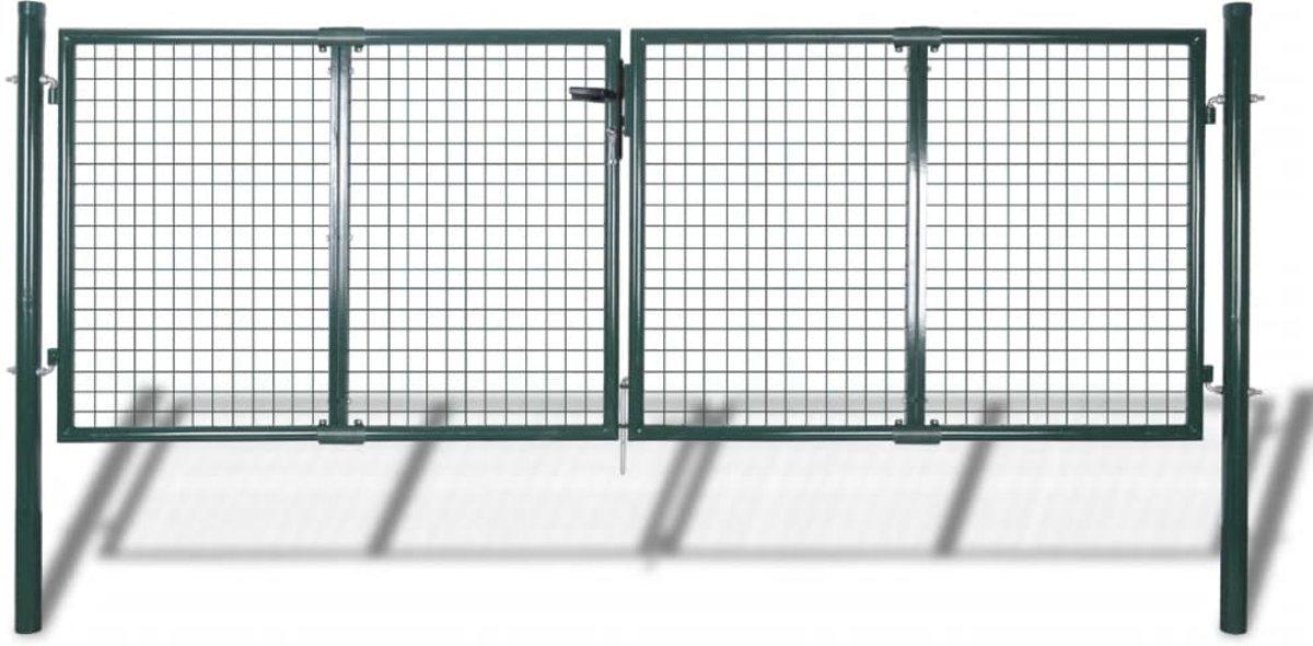 vidaXL Tuinhek poort 289x125 cm/306x175 cm staal groen kopen