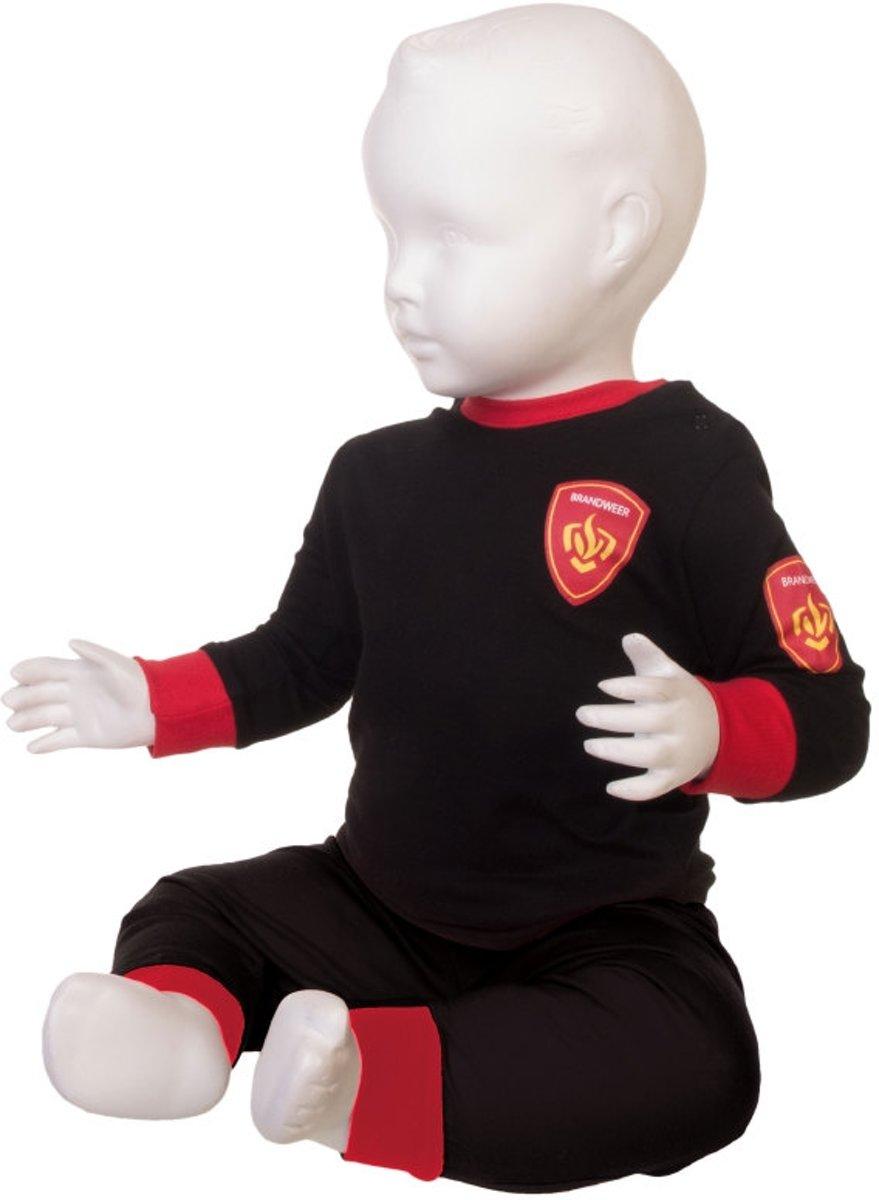 Katoenen Brandweer Pyjama - Zwart maat 74 kopen