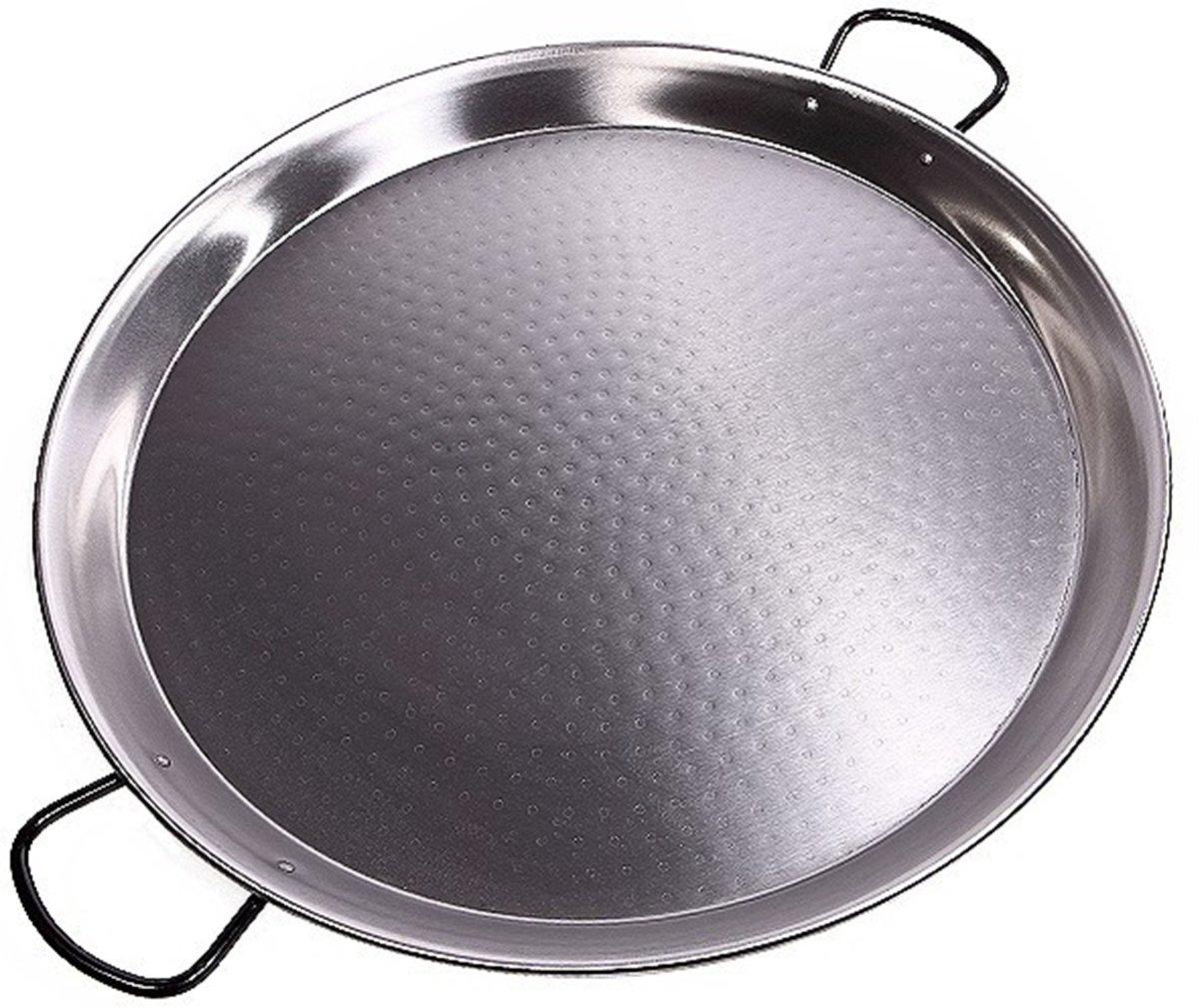 Kookpunt lage paellapan 65cm plaatstaal grijs