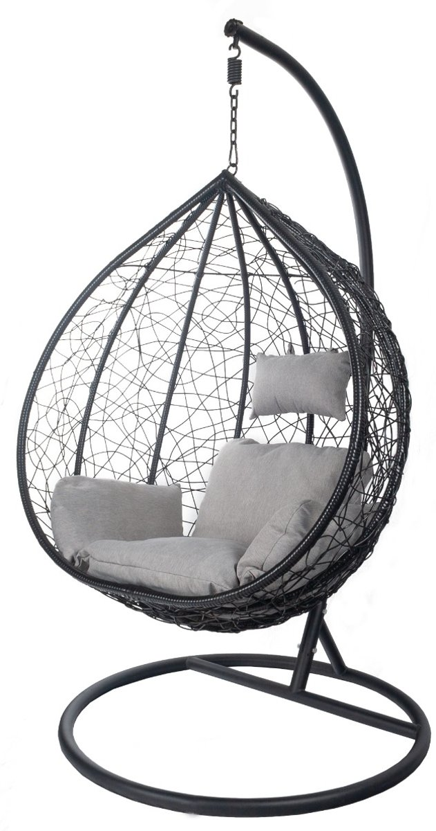 Egg chair zwart simple rattan egg chair natural with egg for Hang stoel