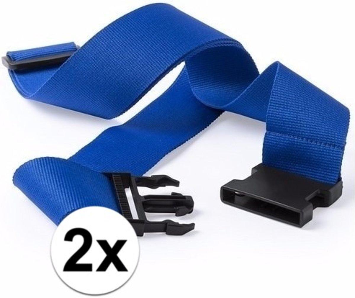 2x stuks Kofferriemen blauw 180 cm kopen