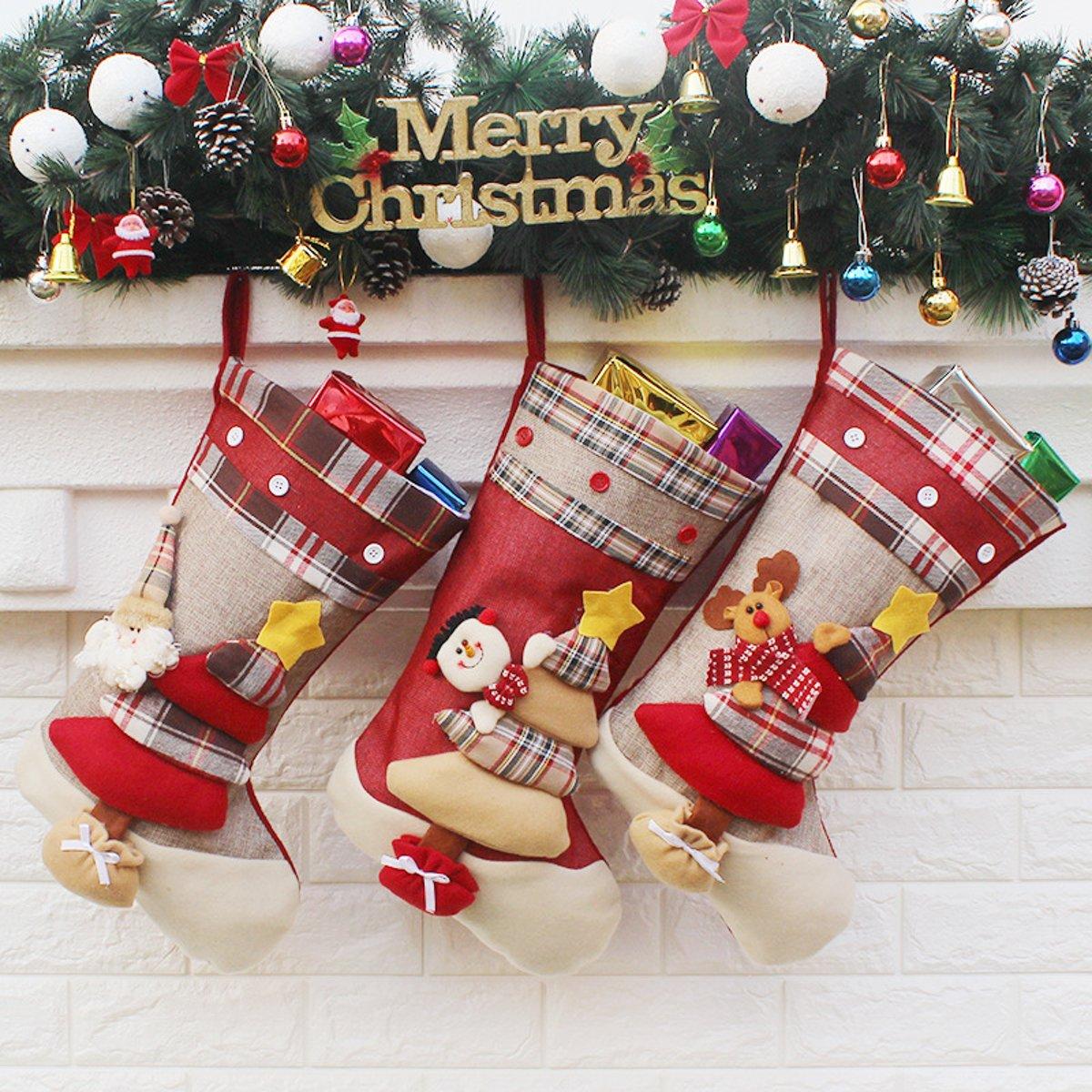 Luxe kerstsokken - kerstsok met kerstman set van 3 - kerstversiering hangdecoratie 45cm . kopen