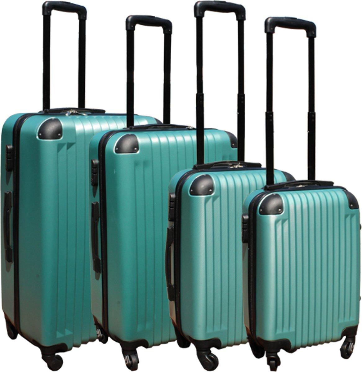 4 delige ABS lichtgewicht harde kofferset met cijferslot licht groen kopen