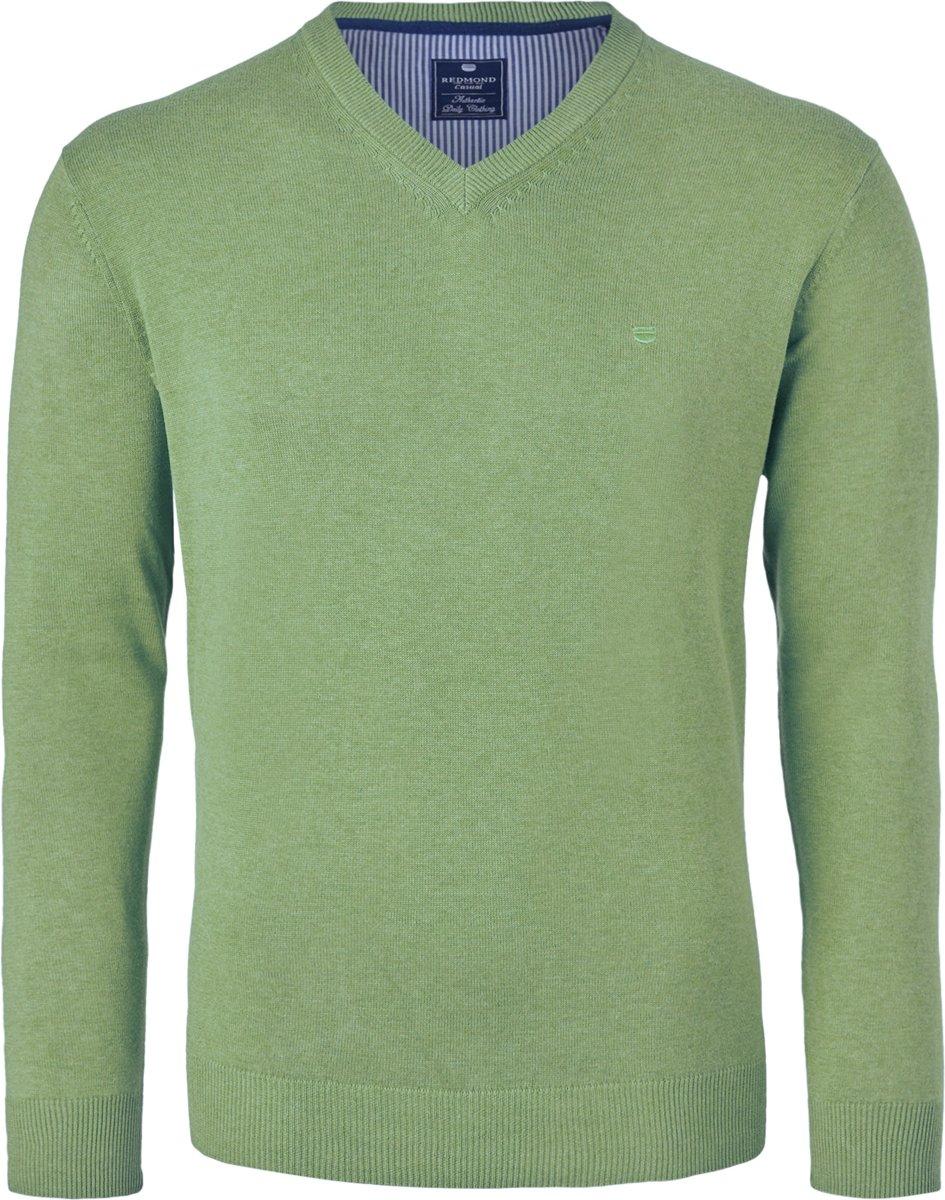 Redmond heren trui katoen - V-hals - groen kopen