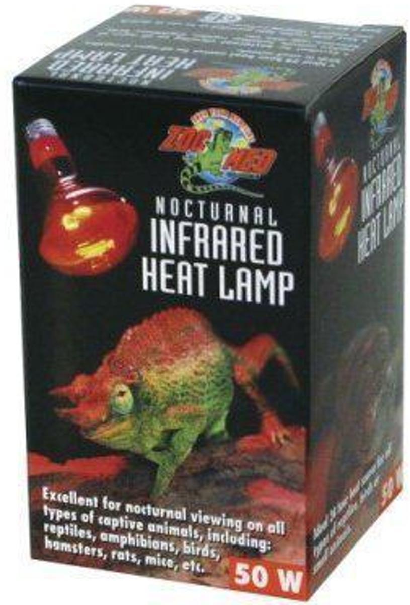 Zoomed terrarium verlichting Nocturnal red infrared heat lamp 50 w.