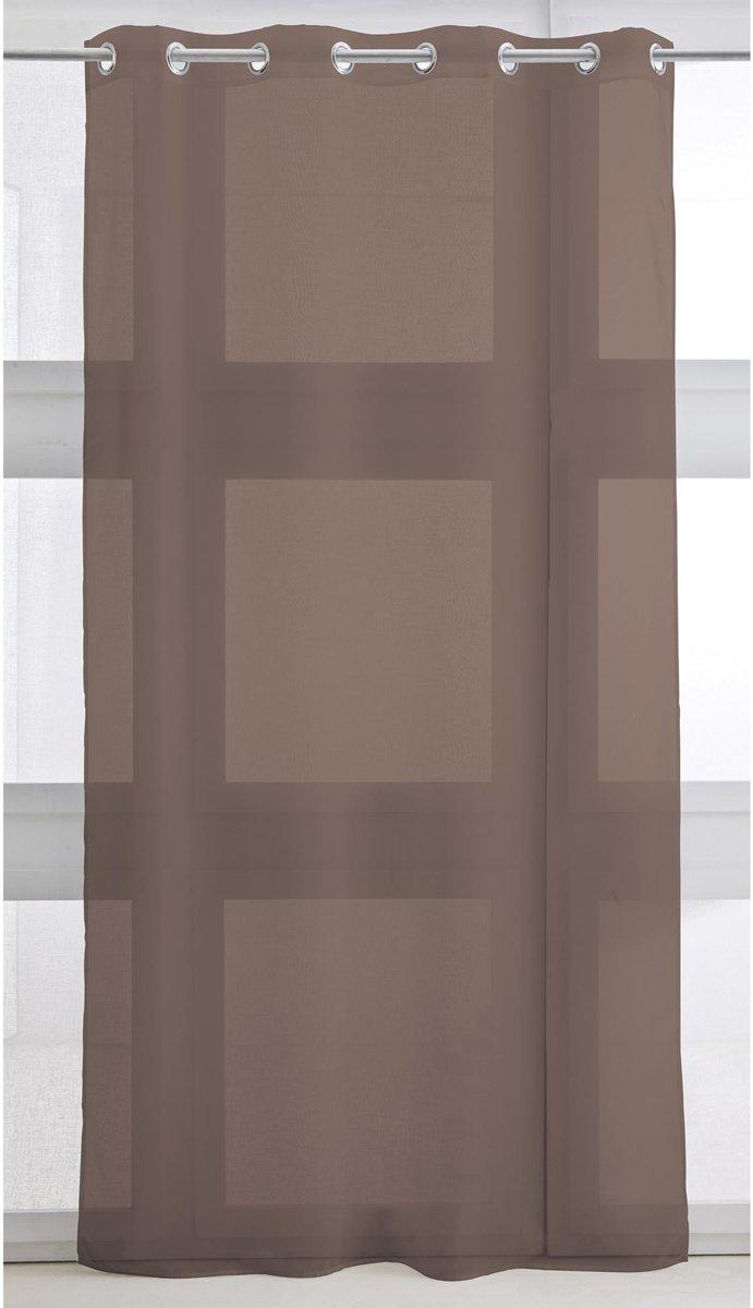 Vitrage met ring - kant en klaar gordijn - 135cm x 240cm - Bronze - kopen