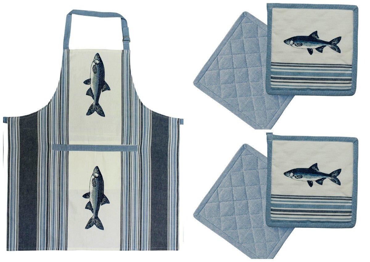 2 vis pannenlappen + keukenschort kookschort thema dieren cadeaus kado vis liefhebber luxe keukentextiel kopen