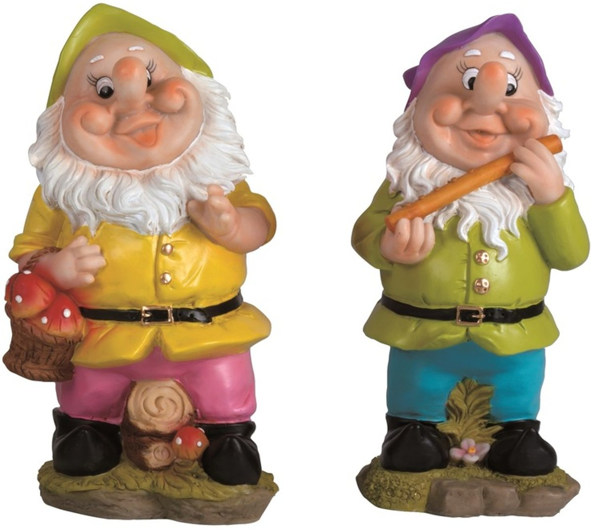 2x Tuinkabouters 30 cm groene/paarse mutsjes