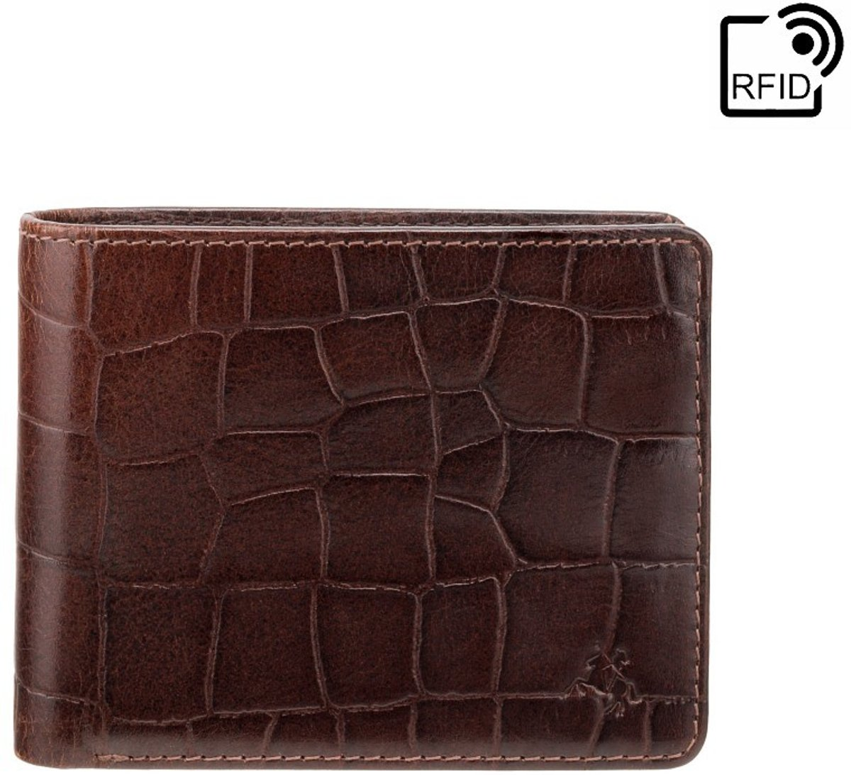 Visconti Leren Portemonnee Mannen Billfold Portemonnee RFID Leer 4 pasjes Croco Collectie Bruin (CR92 BN)
