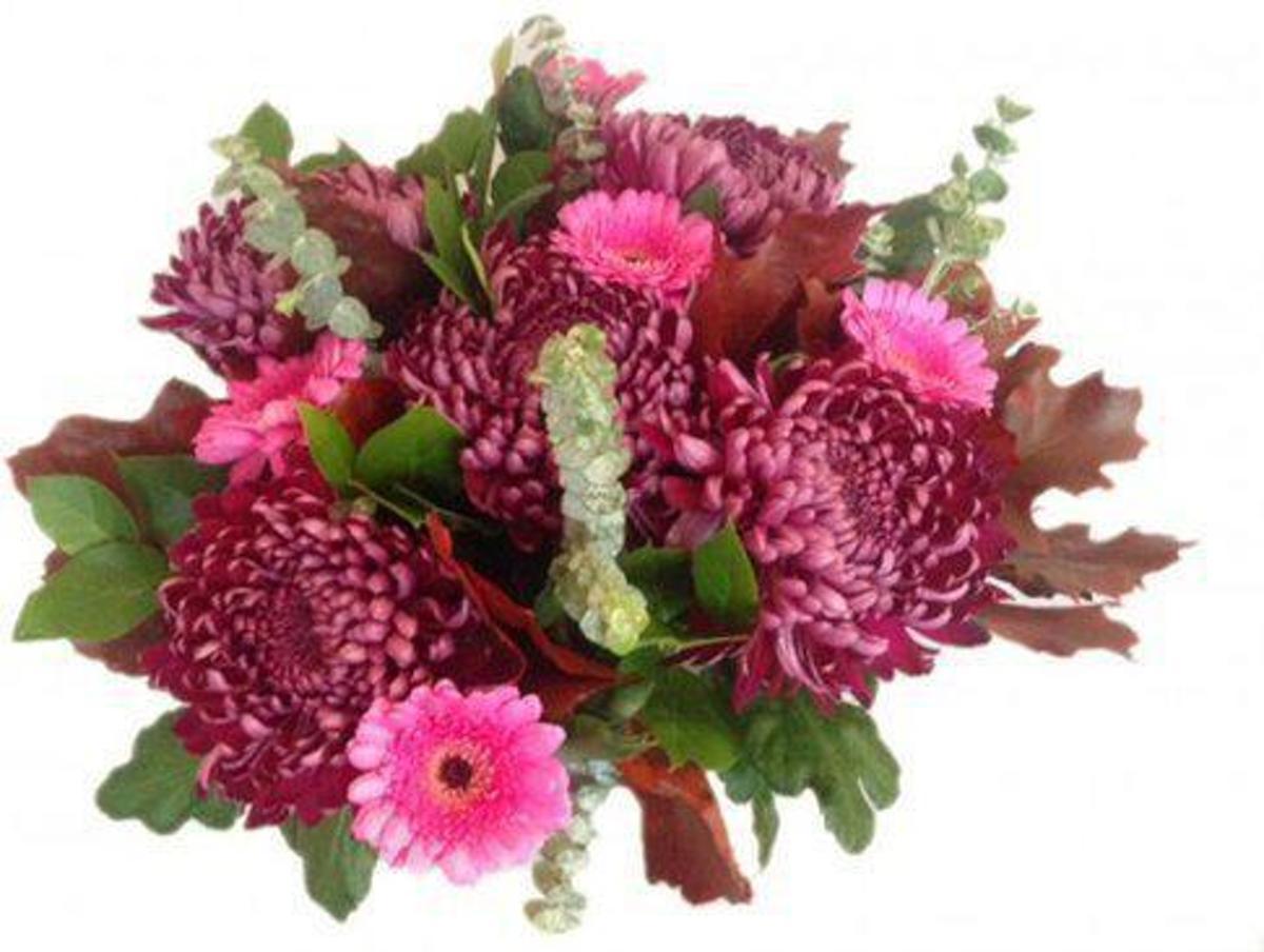 Herfst boeket met paarse bloemen kopen