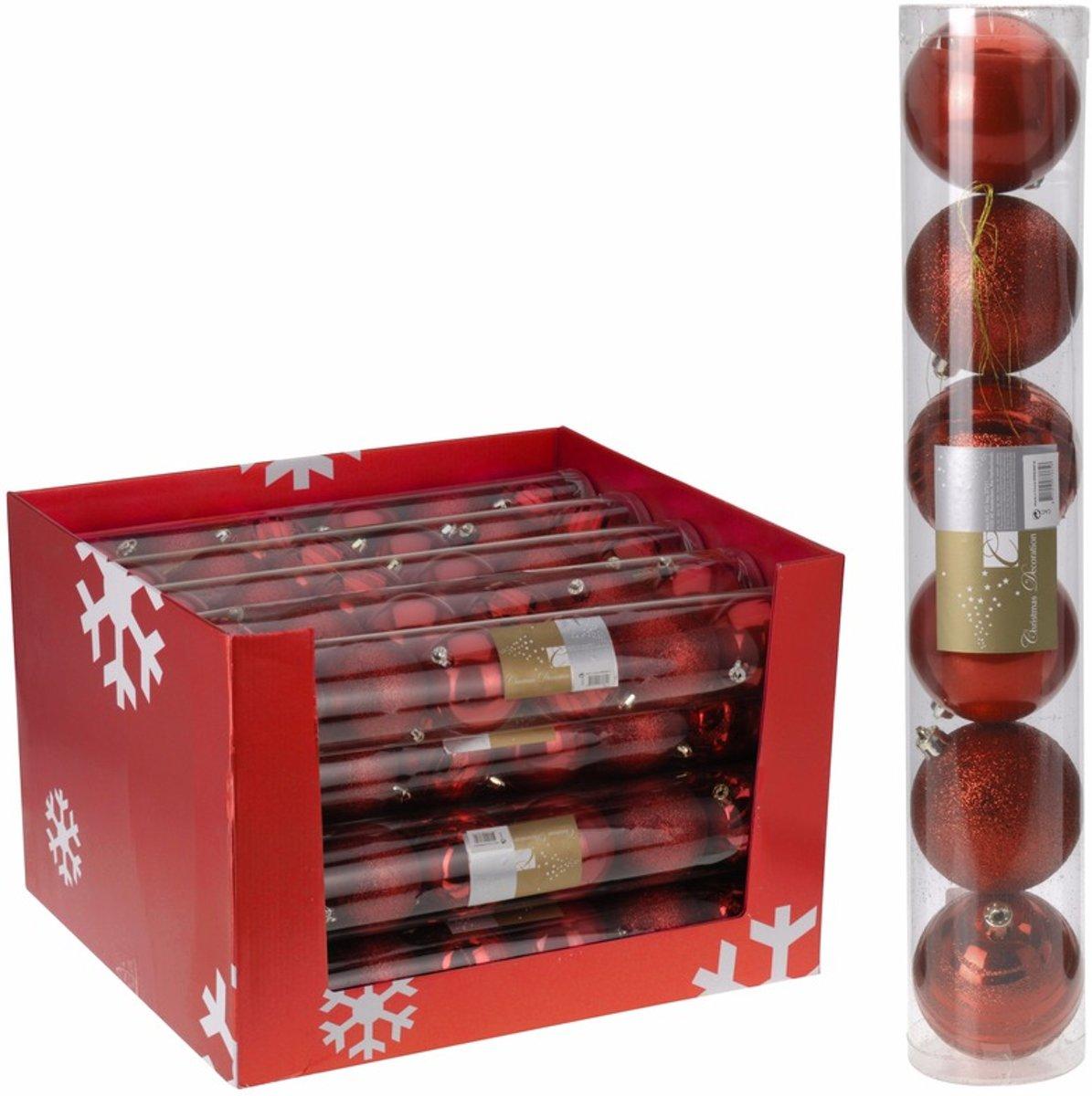 12x Kerstboom decoratie - kerstballen mix rood 7 cm kopen