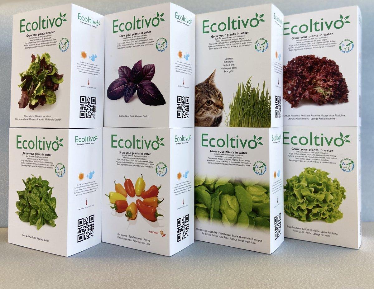 ECOLTIVO - 8 bakjes met 8 verschillende groente / kruiden