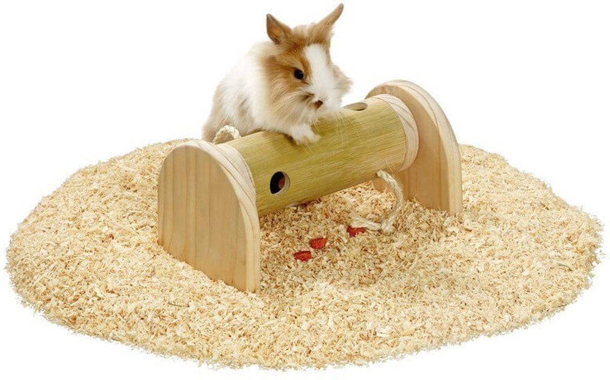 Flamingo N train konijn/cavia speelgoed rol - Hout - 15 x 13,7 x 27,5cm