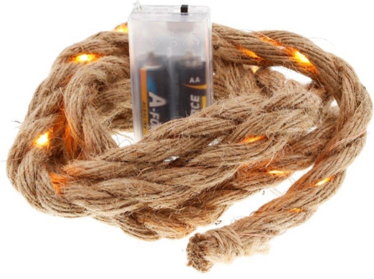Led lampjes jute touw - 2 meter - 25 lampjes - Lichtslinger - Kerst versiering - Winter decoratie - Werkt op batterijen kopen