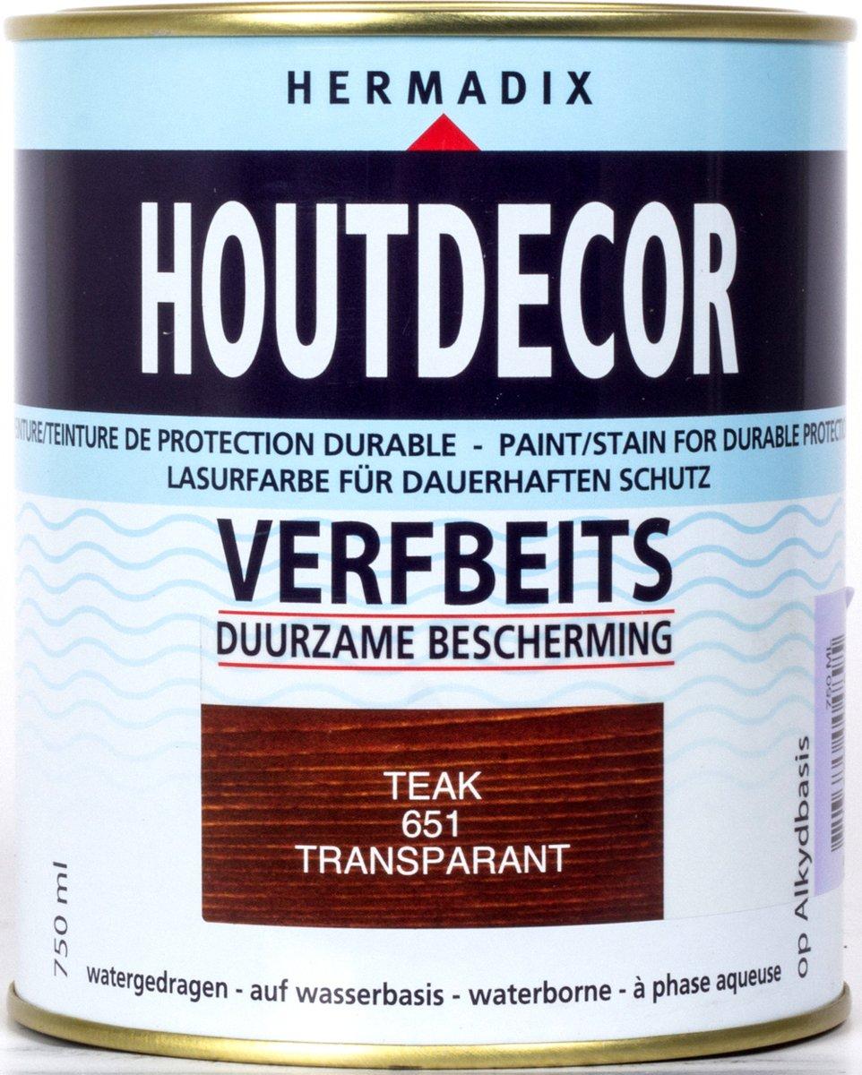 Hermadix Houtdecor Verfbeits Transparant - 0,75 liter - 651 Teak