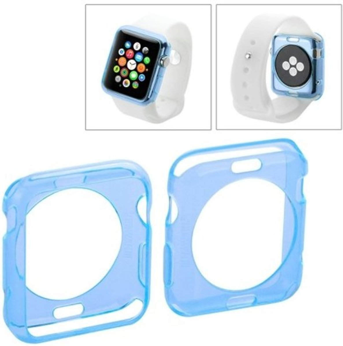Apple Watch 42mm - hoes cover case - TPU - Transparant - Blauw kopen