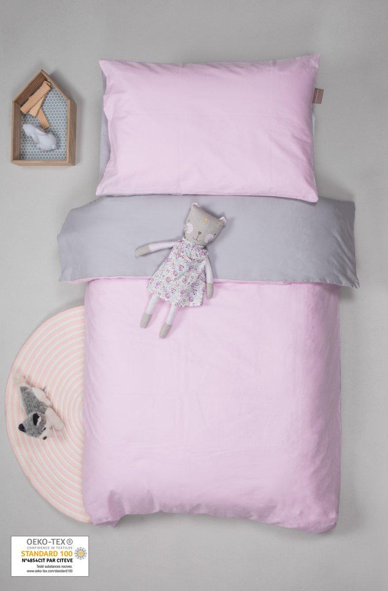 Dekbedovertrek voor baby's + tweekleurige / omkeerbare kussensloop Grijs 100x140 cm kopen