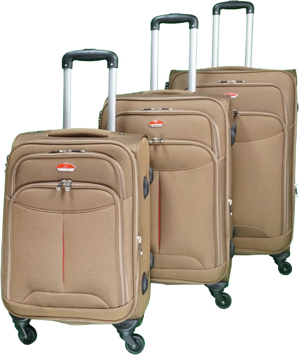 3 delig bagage stoffen koffer set 4 wielen trolley - Bruin kopen