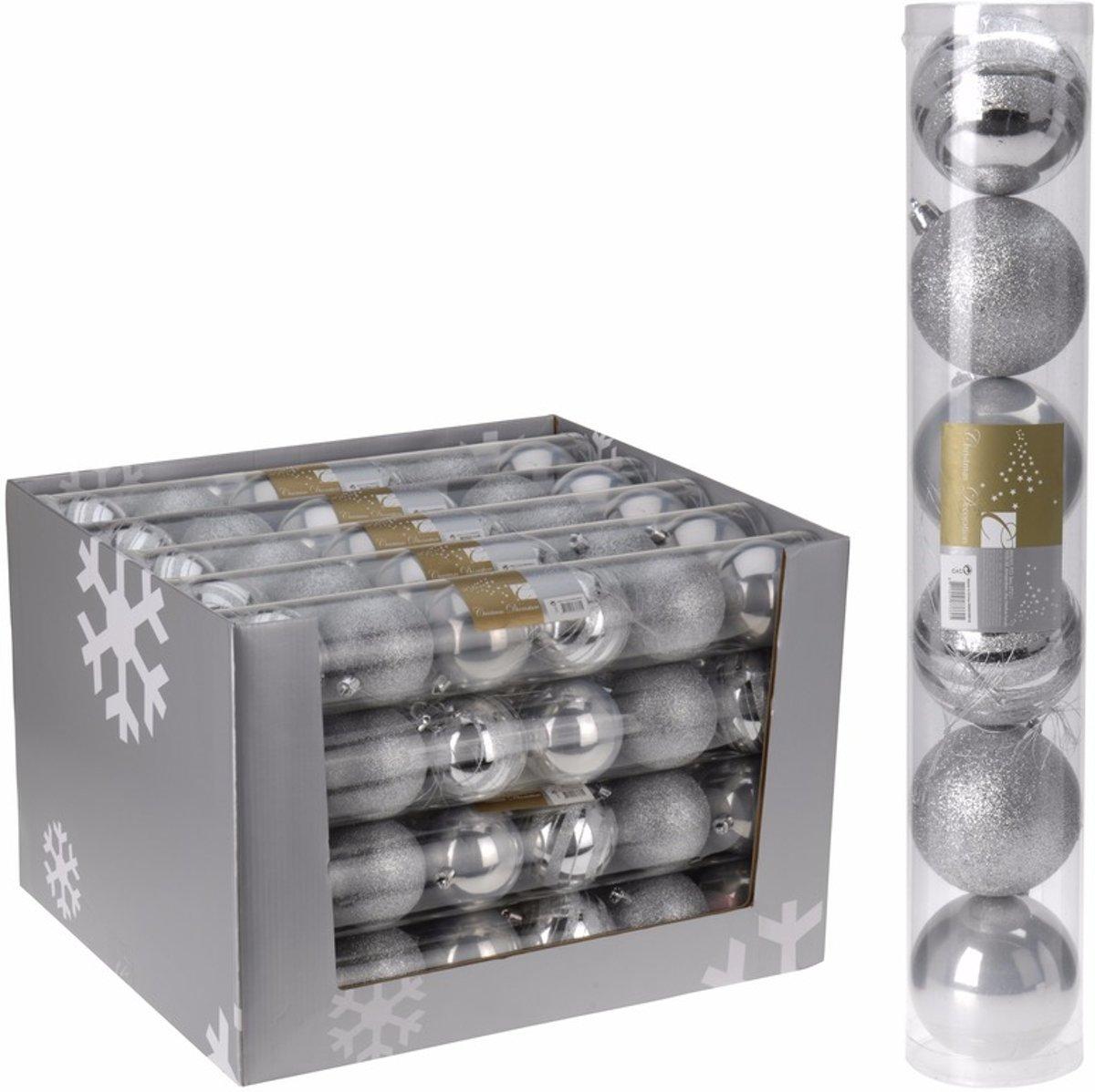 Kerstboom decoratie kerstballen mix zilver 6 stuks kopen
