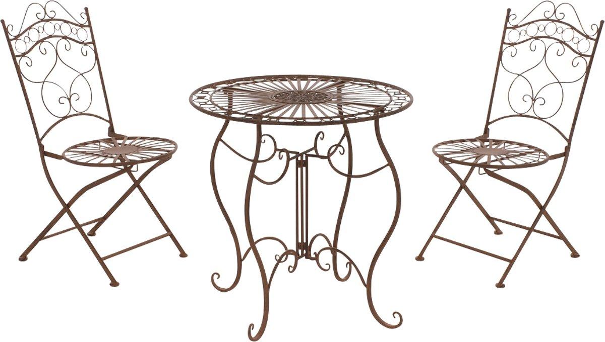 Clp Bistro set INDRA, tuin set, balkon set, zitgroep, geschilderd metaal, antiek nostalgisch design, tafel rond Ø 70 cm + 2 x klapstoel - antiek-bruin kopen