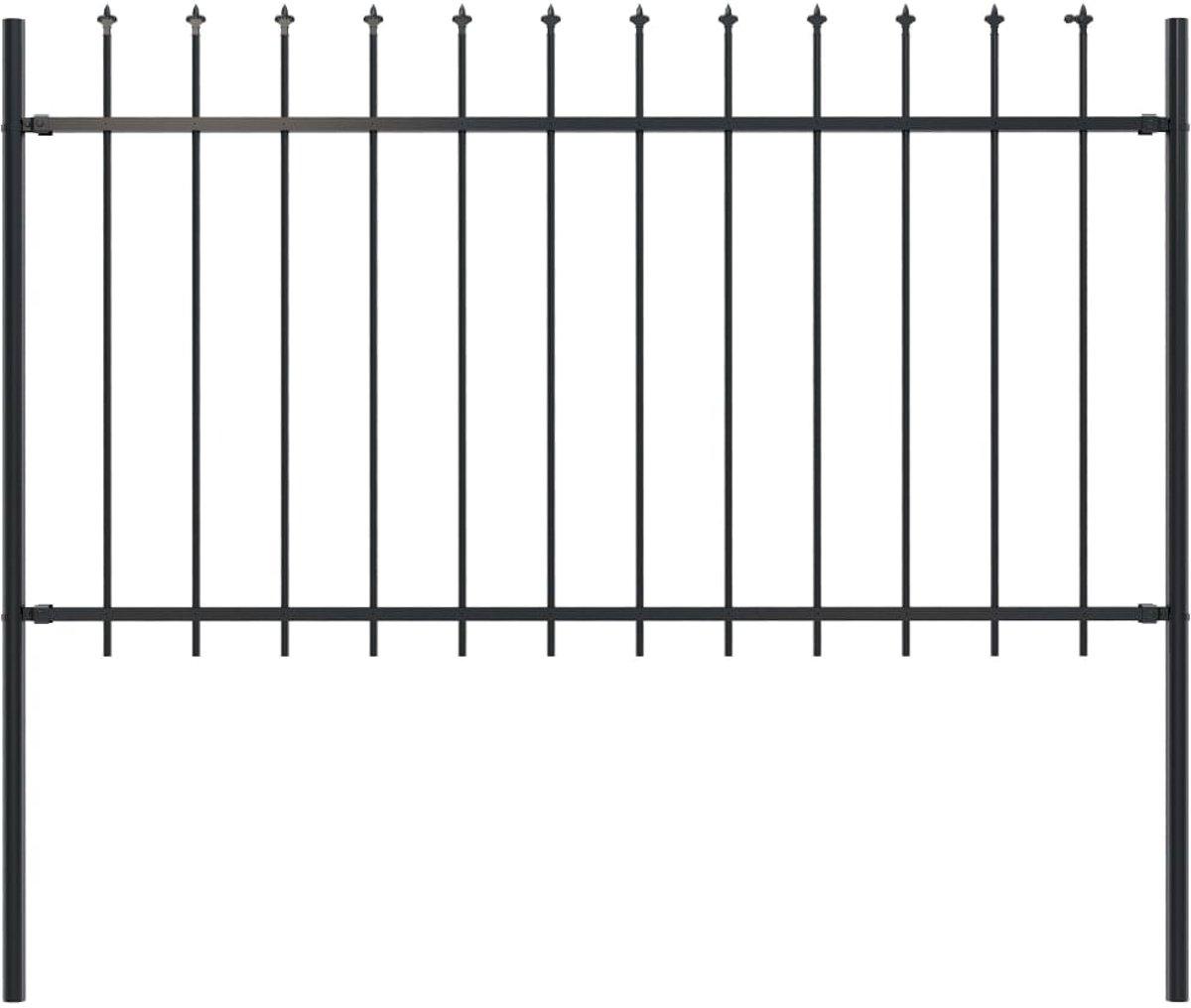 vidaXL Tuinhek met speren bovenkant 1.7x1 m staal zwart