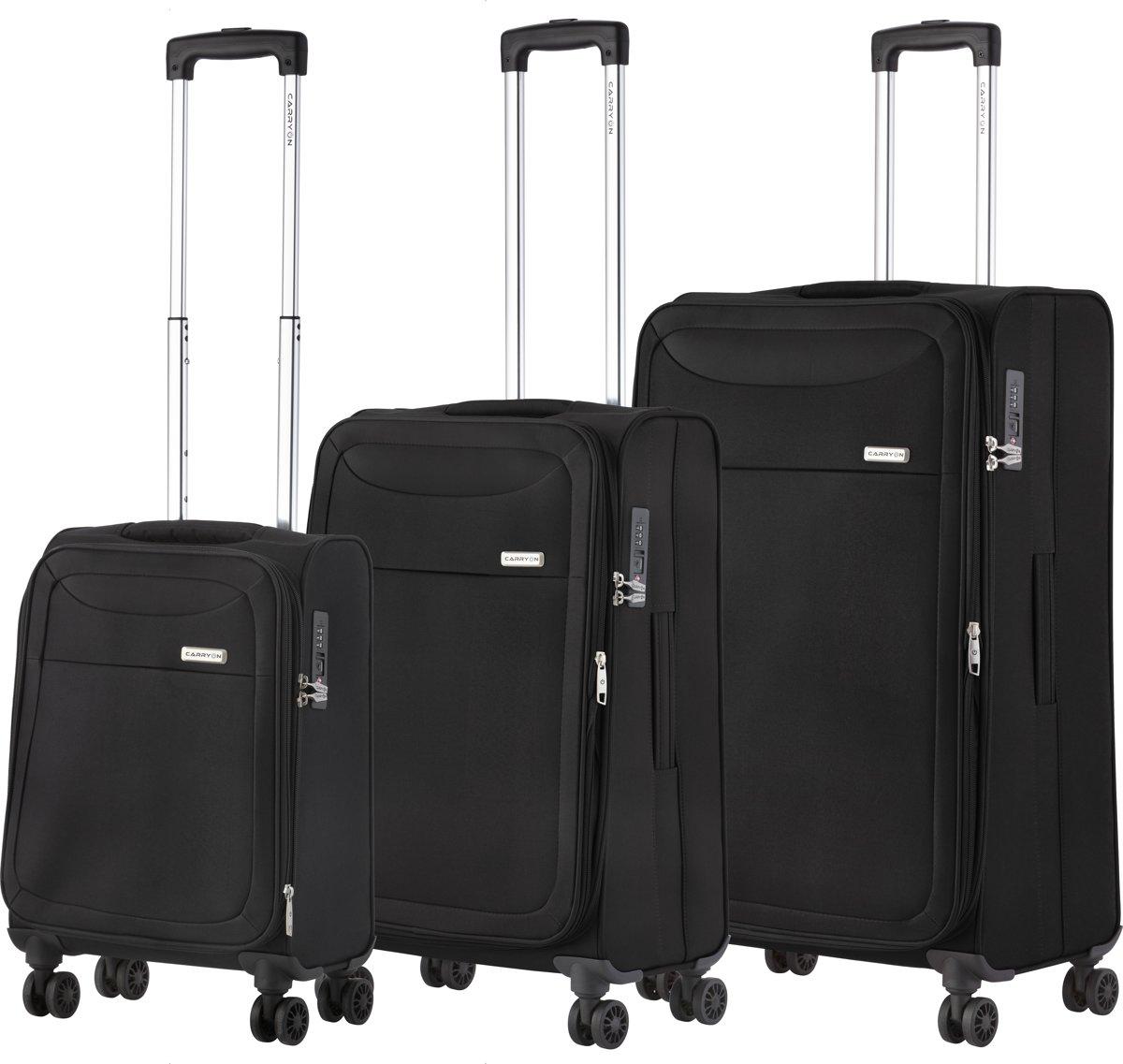 CarryOn Air - Kofferset met wielen - 3 delige trolleyset met TSA-cijferslot - 5 jaar garantie en anti-diefstal rits - Zwart kopen