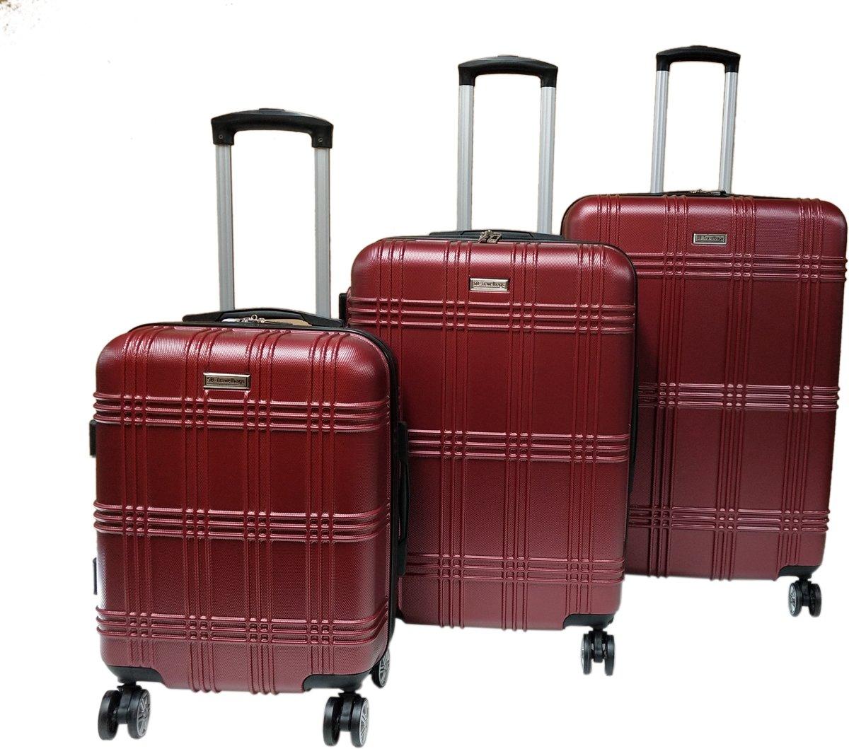 3 delige bagage koffer 4 dubbele wielen trolley - Rood kopen