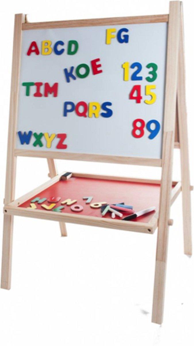 Schoolbord Whitebord hout - 88 x 54 x 43cm - inclusief alfabet kopen