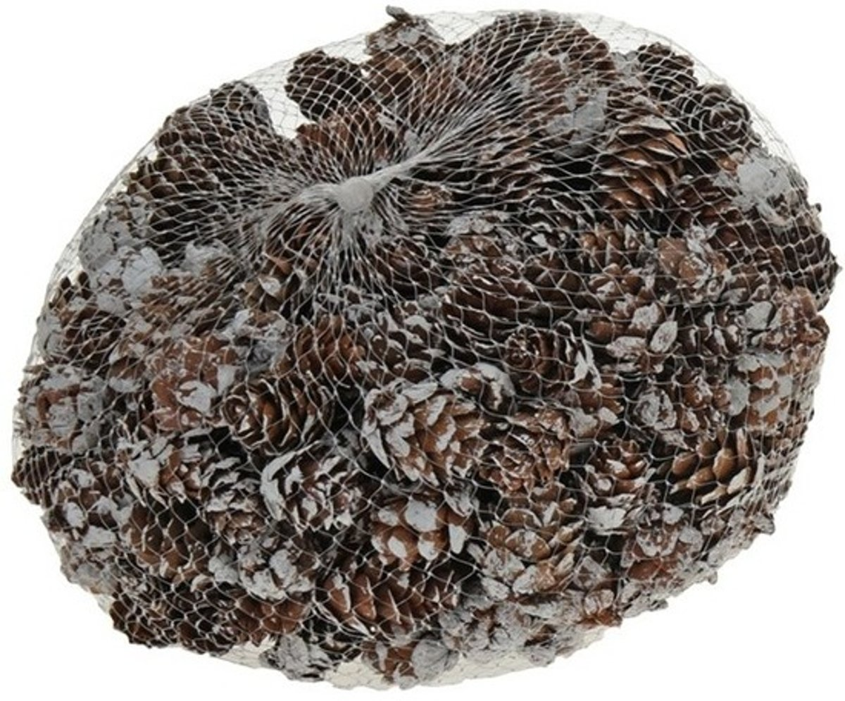 Decoratie dennenappels bruin/sneeuw 3 cm kopen