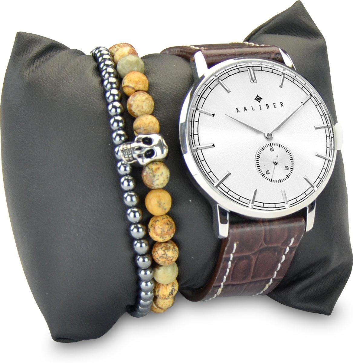 Kaliber 7KA SET008 Horloge Set met Armbanden - Leren Band - Ø 40 mm - Bruin / Zilverkleurig kopen