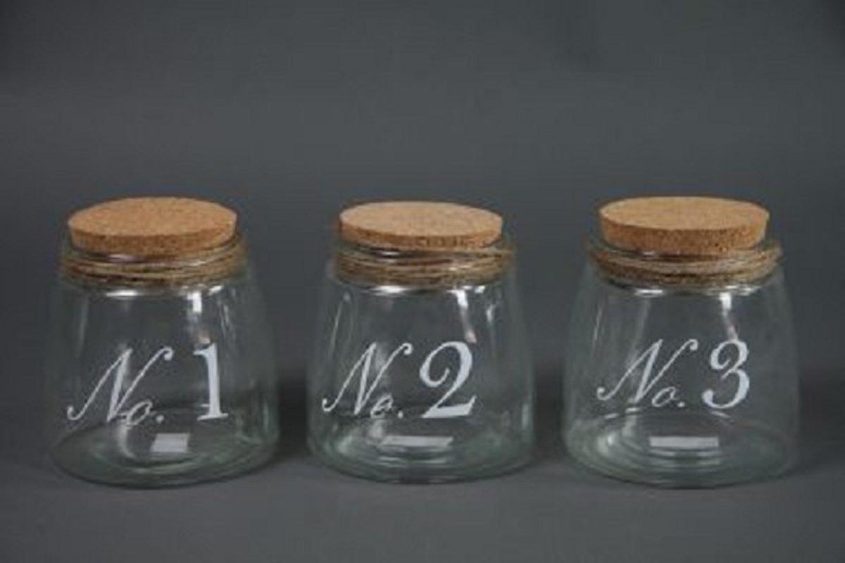 Pot m/kurk kont no1, 2,3 S helder H13cm