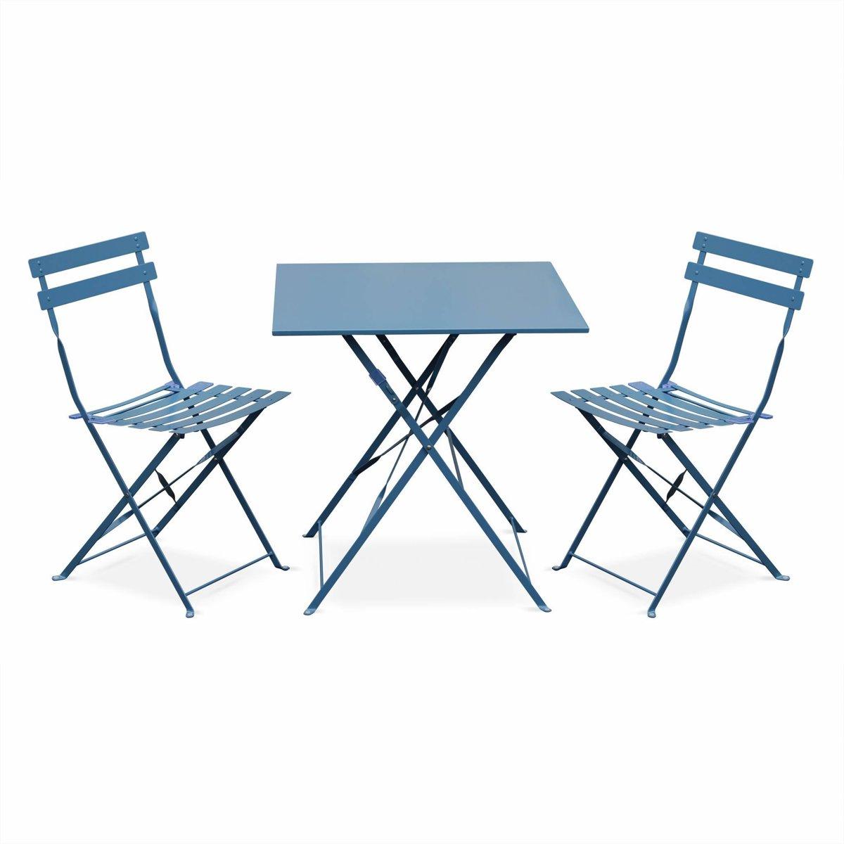 Bistro tuin set, 1 vierkante tafel en 2 opklapbare stoelen met poedercoating kopen