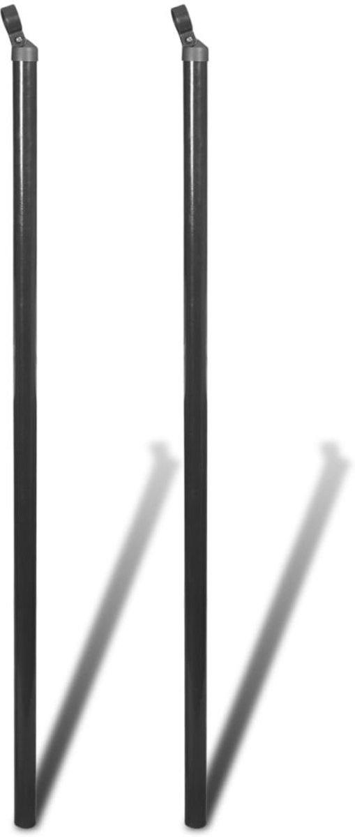 vidaXL Steunpaal voor gaashekwerk 115 cm grijs 2 st kopen