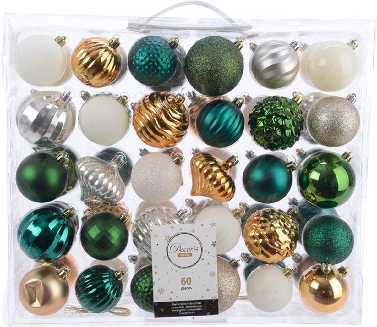 Kerstversiering kerstballen set groen/goud/ zilver/ wit - 60 delig - kerstbal kopen