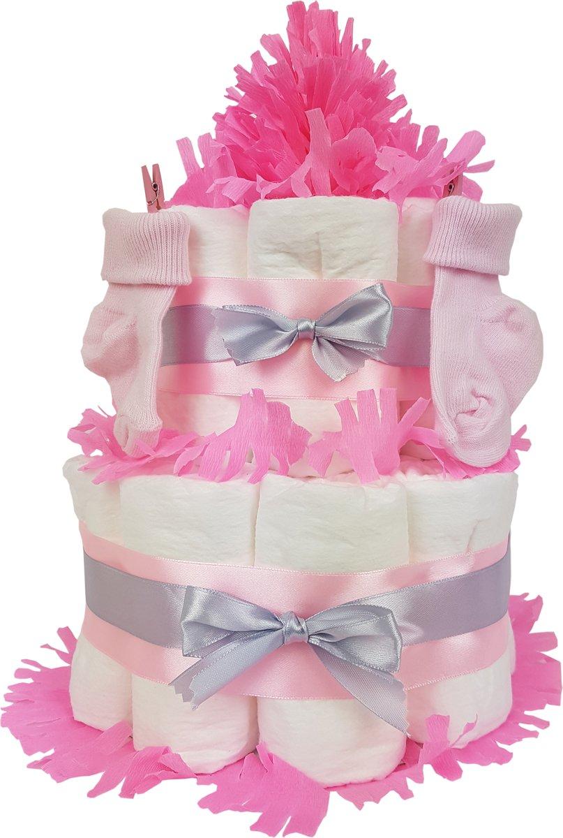 Luiertaart meisje 2-laags roze | 19 A-merk Pampers | schattige sokjes | XL geboortekaart | ideaal voor babyshower, kraamcadeau en Baby cadeau
