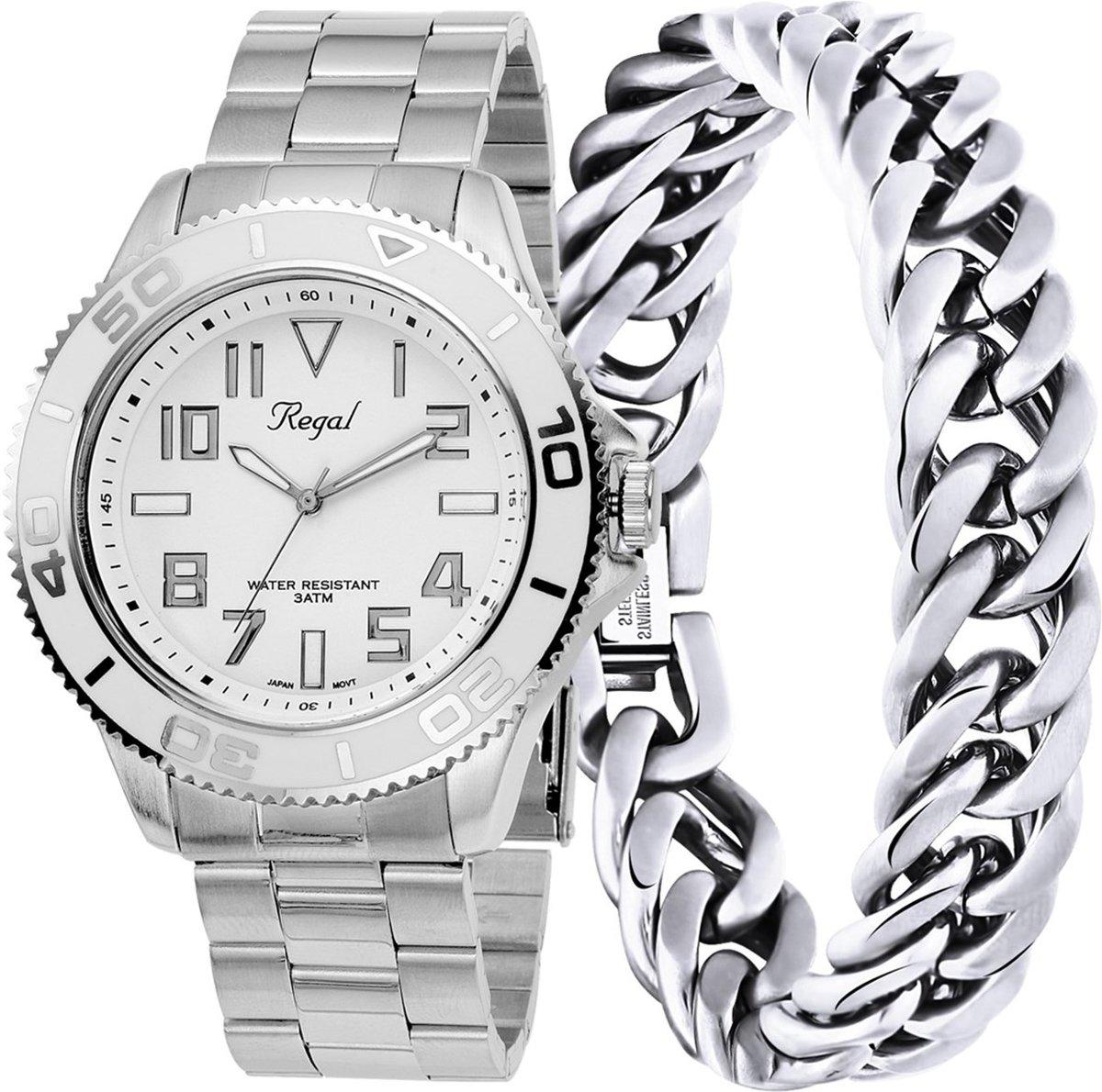 Lucardi - Stalen set armband & Regal horloge R14793-112 - maat 19 kopen
