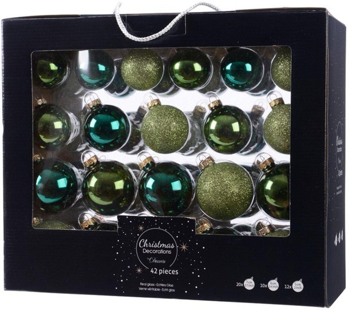 Groene kerstversiering kerstballen set 42 delig van glas kopen