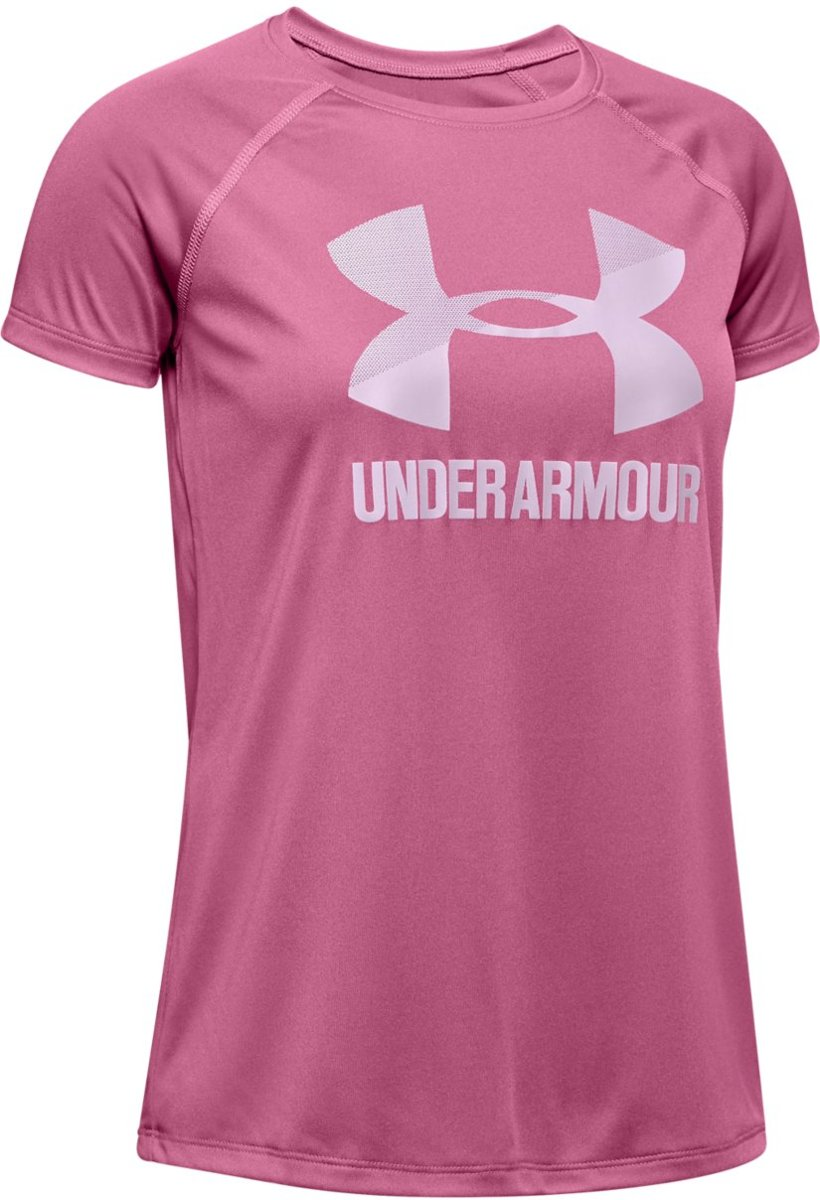 Under Armour Big Logo Tee Solid SS Meisjes Sportshirt Pace Pink Maat 140