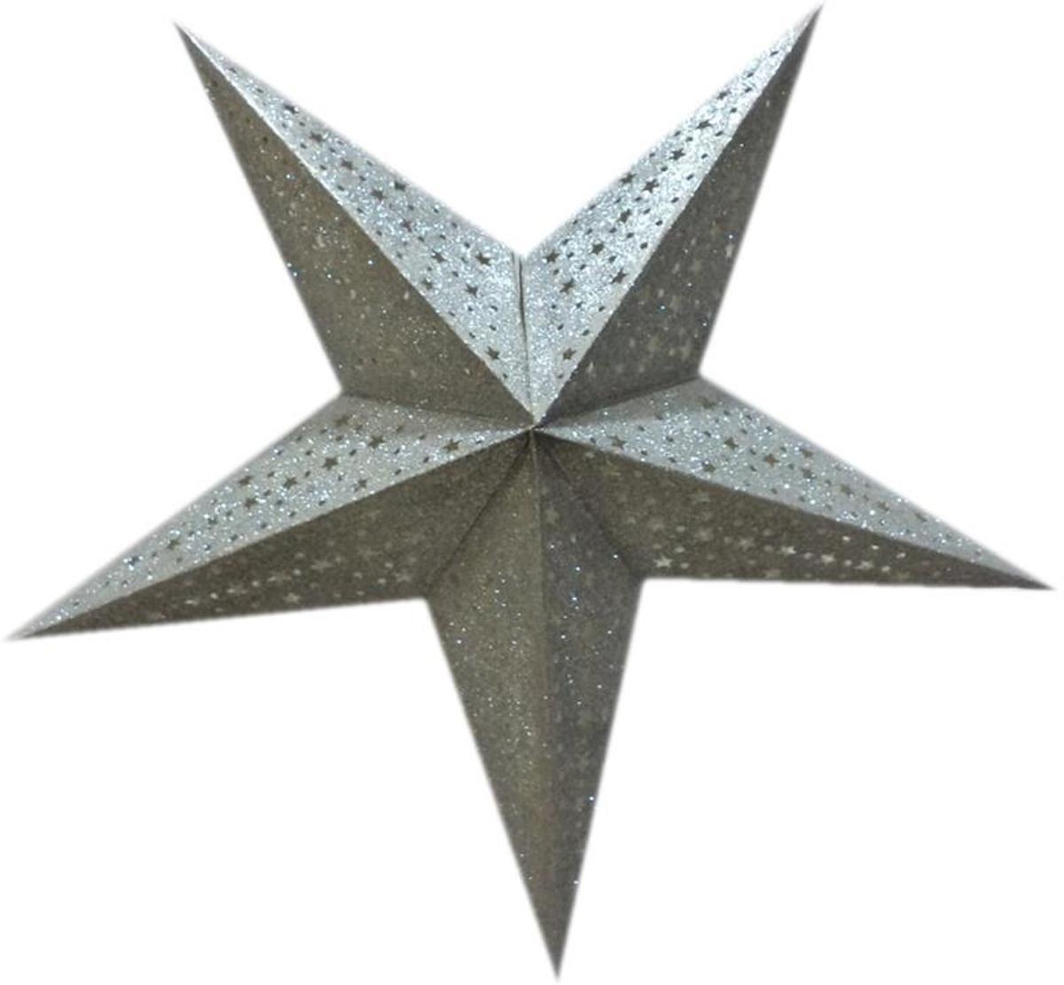 kerstster - luxe papieren uitvoering - zilver met glitter - 45 cm - inclusief snoer en fitting kopen