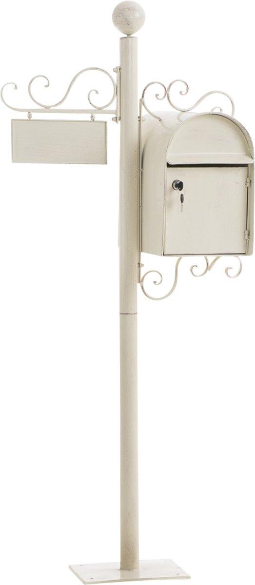 Clp Brievenbus CHARLIZE, vrijstaande nostalgische brievenbus, mailbox, 150 cm, met naamplaatje, ontwerp nostalgisch antiek - antiek-crème
