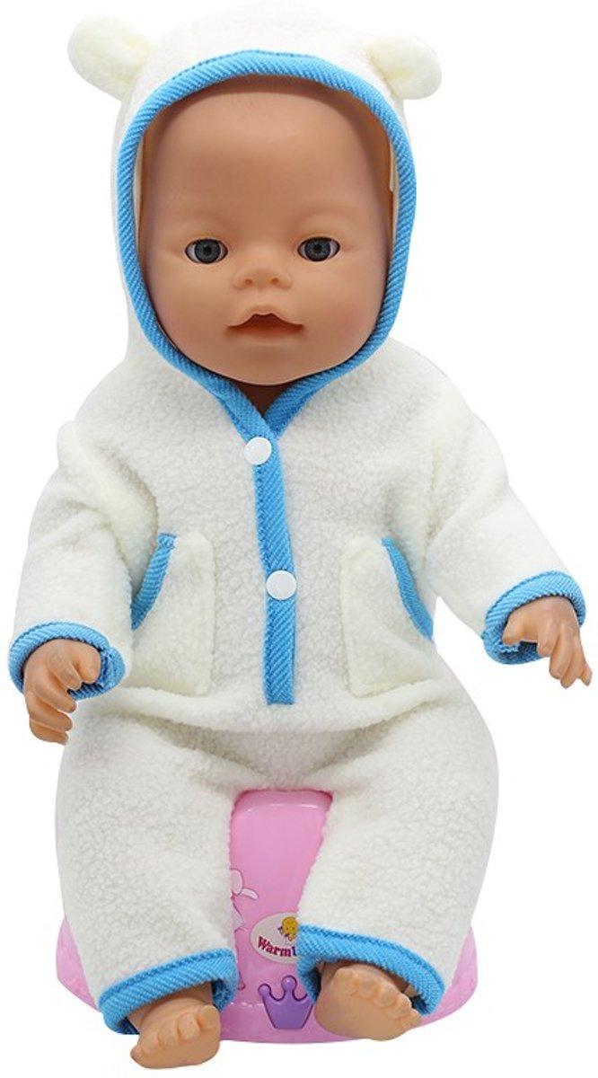 Wit/blauw zachte jongens pyjama/onesie met cappuchon met oortjes - poppenkleertjes voor pop 40-45 cm zoals Baby Born