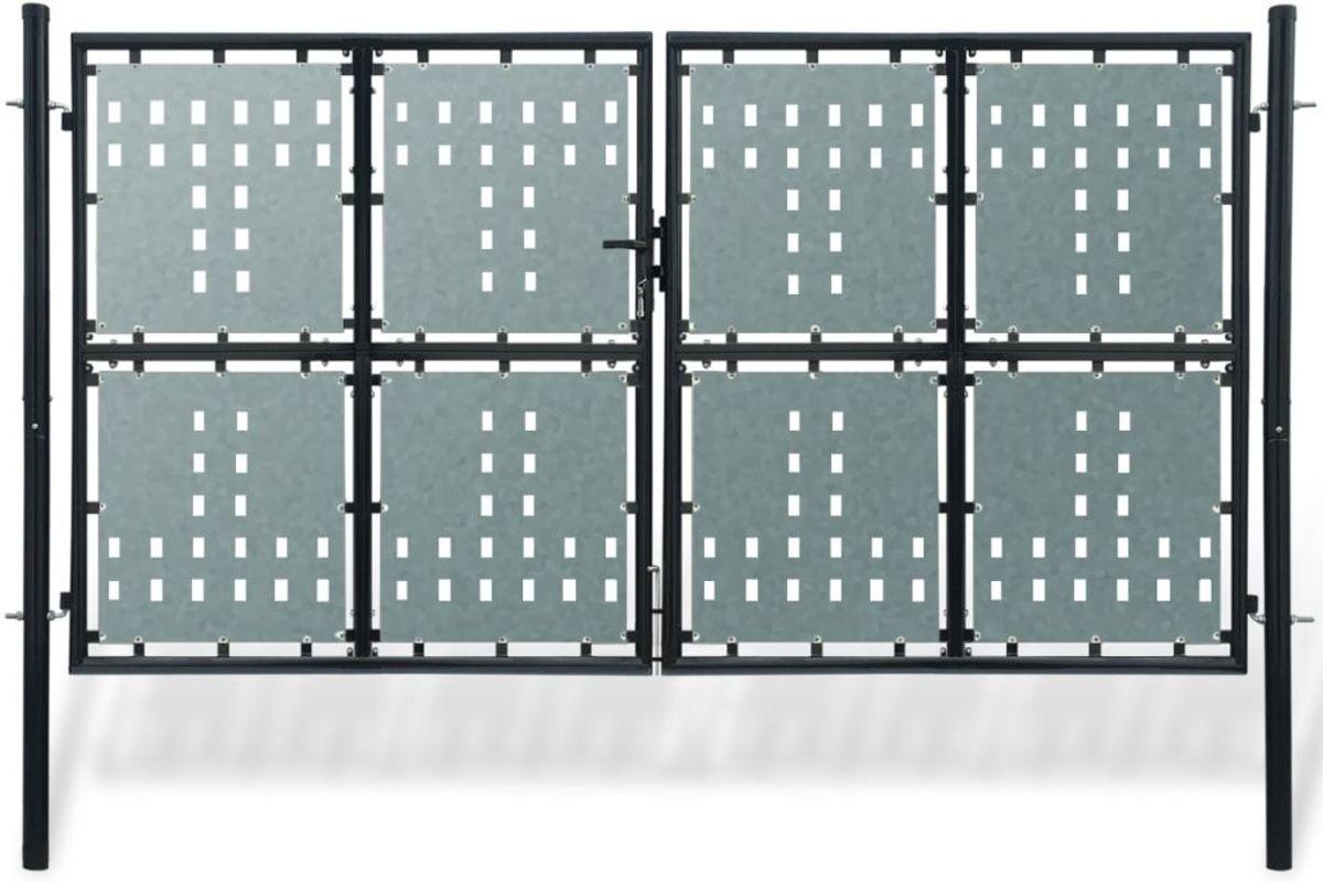 vidaXL Tuinpoort dubbele deur zwart 300 x 225 cm kopen