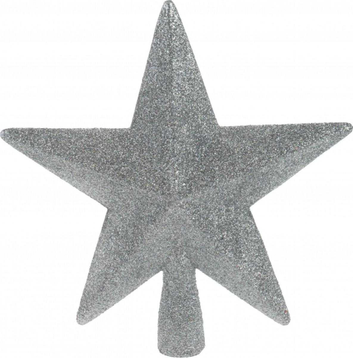Piek ster zilver met glitters 19 cm kopen