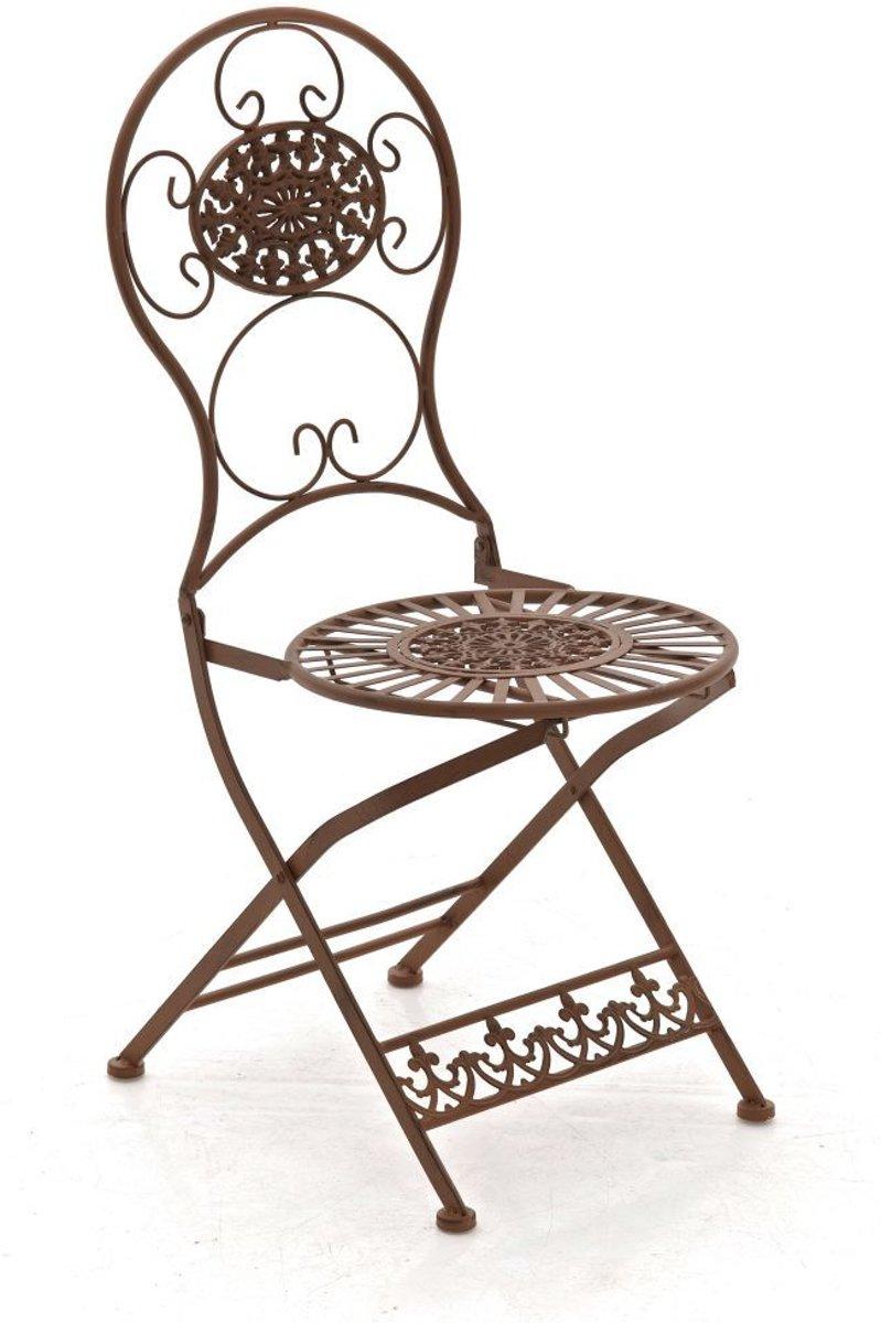 Clp Metalen klapstoel MANI, in nostalgisch design, tuinstoel, bistrostoel, balkonstoel, terrasstoel, patiostoel, Vouwbare tuinstoel met edele ornament