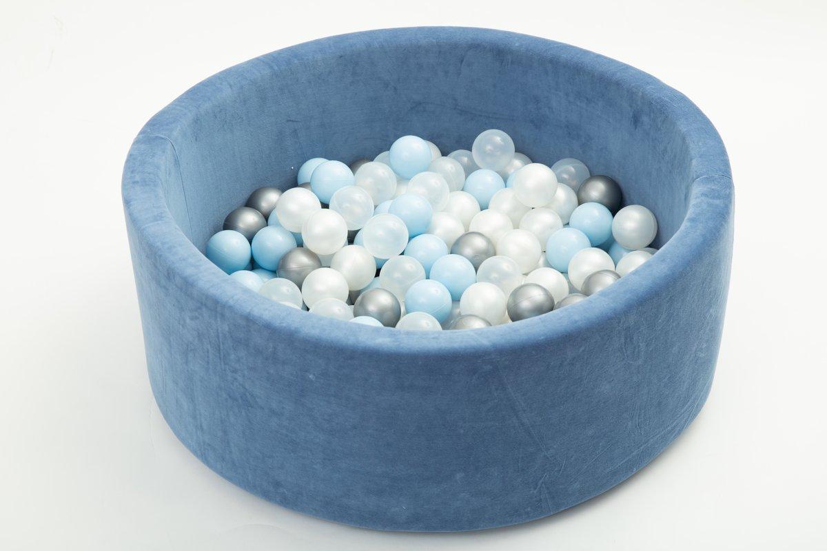 FUJL - Ballenbak - Speelbak - Donker blauw - ⌀ 90 cm - 200 ballen - Kleuren - Zilver - Parel  -baby blauw - Transparant