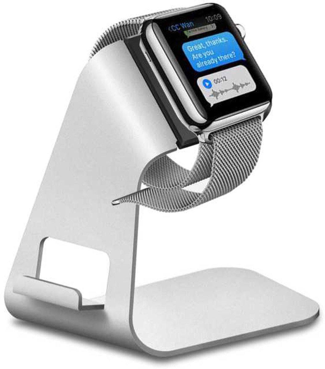 2 in 1 Apple watch stand hoog - Zilver | Watchbands-shop.nl kopen