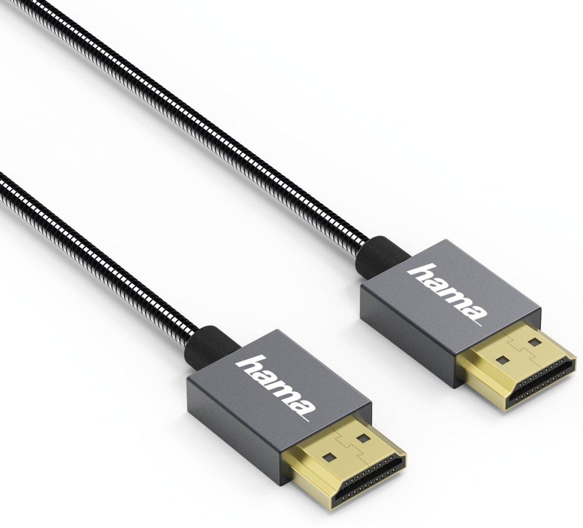 """Hama High-speed HDMI™-kabel """"Elite"""", ethernet, metaal, antraciet, 0,75 m kopen"""