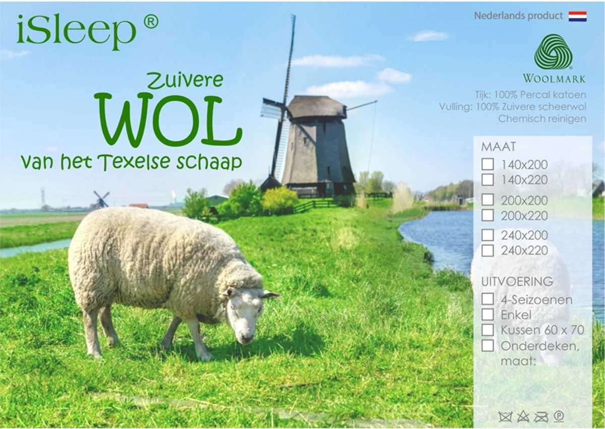 33f422f7dd9 iSleep Wol Dekbed - Enkel - 100% Wol - Eenpersoons - 140x200 cm